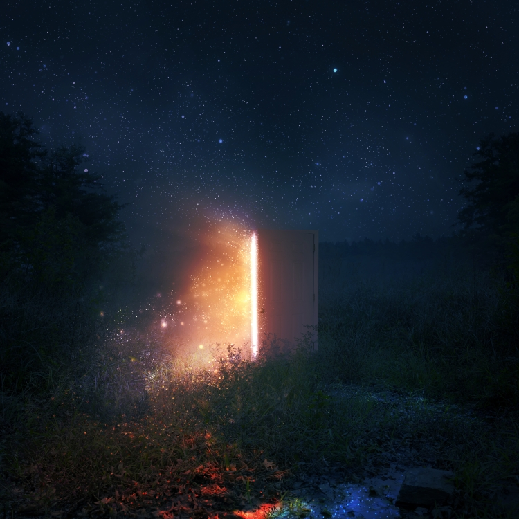 Open door at night