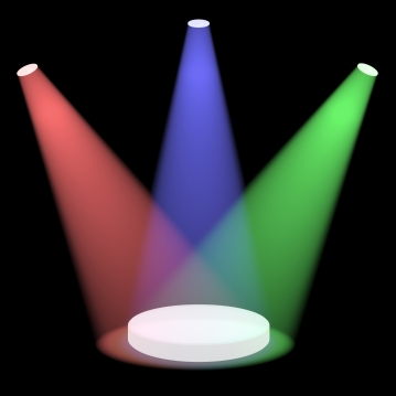 Red Blue And Green Spotlights Shining On Small Stage With Black Background