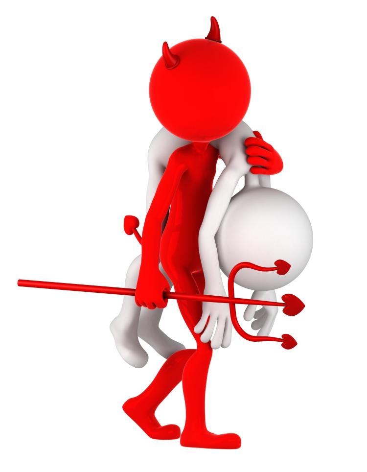 Devil carrying businessman on shoulder
