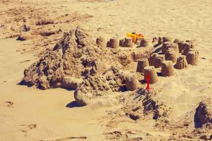 sand castles at the beach