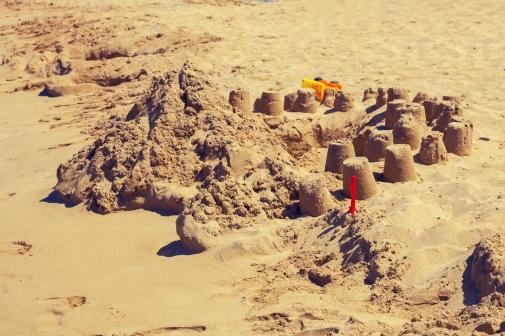 sand castles at the beach