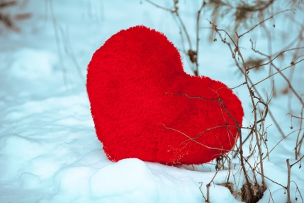 heart on the snow