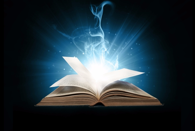 Blue glowing book