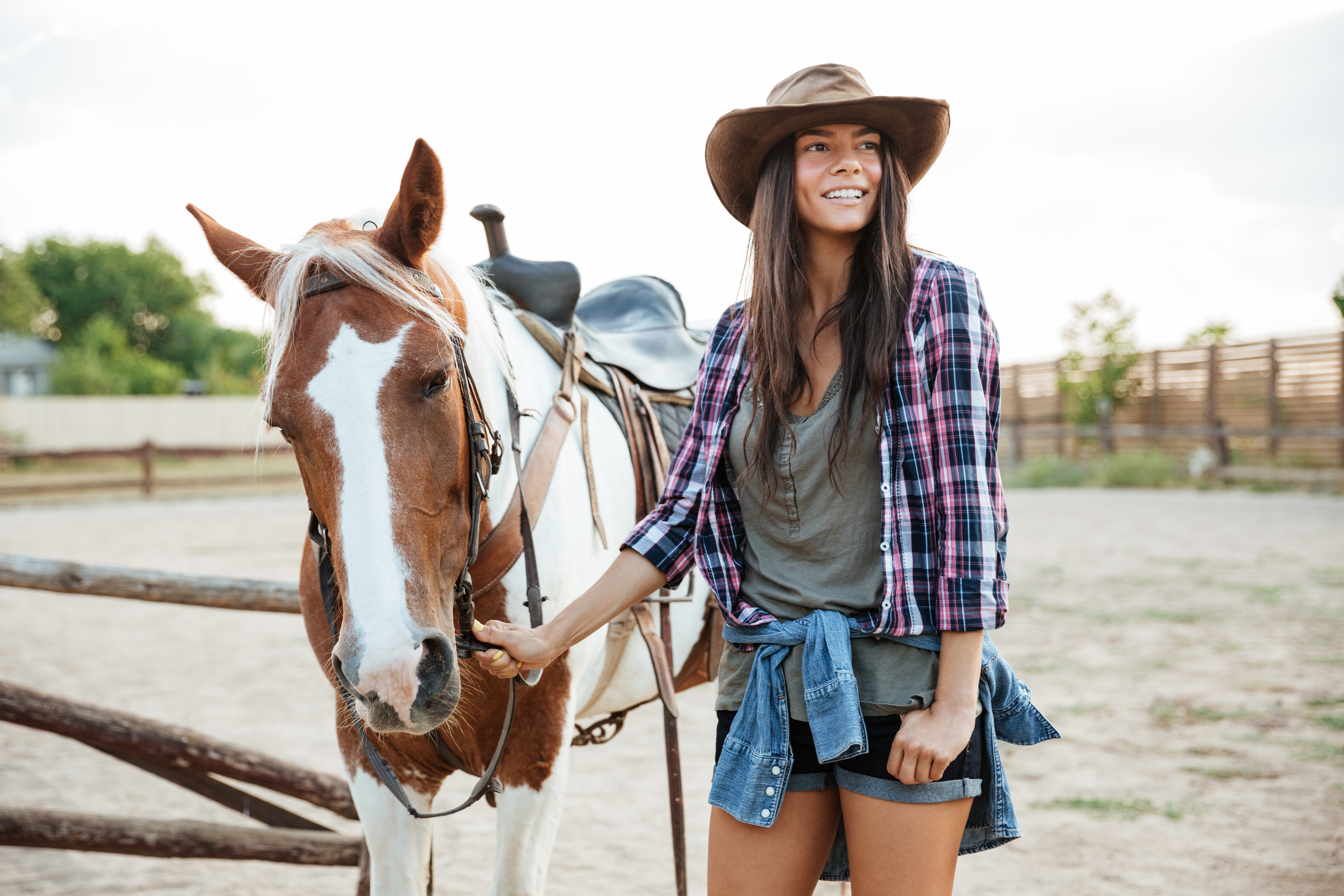 Happy young woman with her horse at the farm