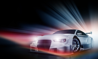 Speed Demon - Motorsport Theme. Cool Colorful Lights and Performance Vehicle with Headlights On. Transportation Illustrations Collection