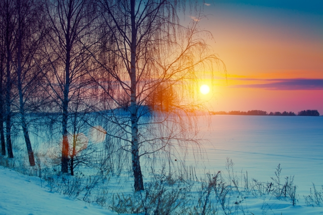 Beautiful winter sunrise