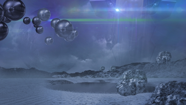 Alien world in blue made in 2d software