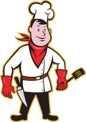 Illustration of a chef cook with spatula and kitchen knife on hip wearing bandana on neck and facing front on isolated white background done in cartoon style.
