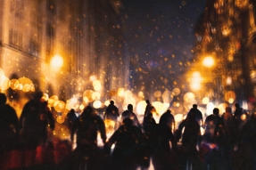 group of zombie walking through burning city,illustration painting