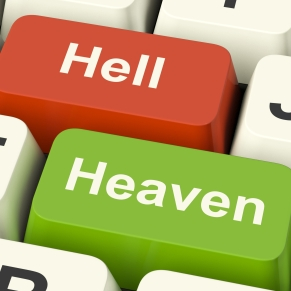 Heaven Hell Computer Keys Shows Choice Between Good And Evil Online