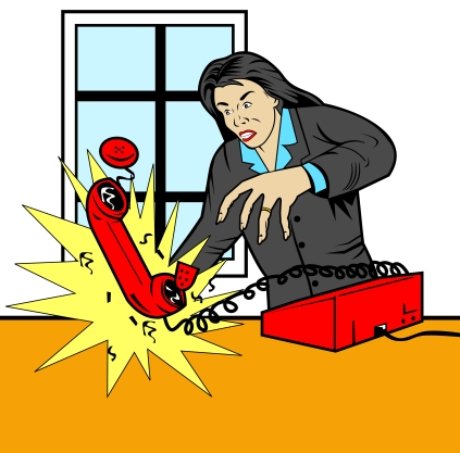 Illustration of an angry woman throwing a phone done in retro style.